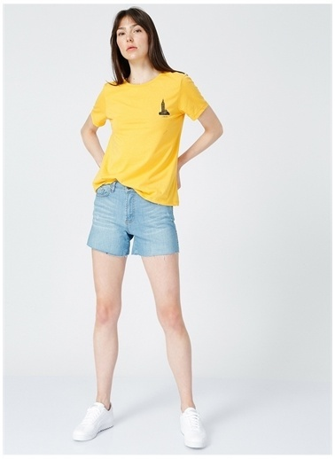 Limon Company Limon Kadın Sarı Bisiklet Yaka T-Shirt Sarı